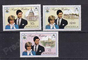 1981 Royal Wedding Charles & Diana MNH Stamps Stamp Set Anguilla SG 464-466 PINK