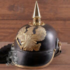 Pickelhaube Imperial Officer's Prussian German Leather Helmet With Brass Spike