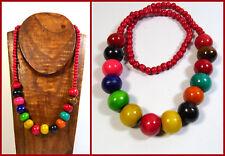 Halskette Ethno Hippie Boho Naturschmuck bunt Perlenkette Holz Indie Collier NEU