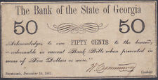 Bank of the State of Georgia Fifty Cents