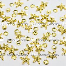 20 Pcs 3D Gold Ocean Sea Star Shell Alloy Nail Art Decoration #EJ-192A