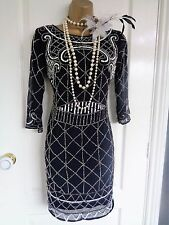 Bnwt Dentelle & Perles £ 79 années 1920 Clapet Style Beaded Dress UK 10 US 6 EU 38 Gatsby