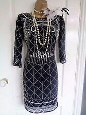 BNWT lace & beads £79 1920's flapper style beaded dress UK 10 US 6 EU 38 Gatsby