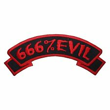 """666% Evil"" Nametag Zombie Horror Kreepsville Embroidered Iron On Applique Patch"
