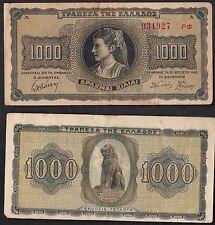 GRECIA GREECE 1000 DRACME MOLTO BELLA BANKNOTE  Drachmaes 1942 DONNA