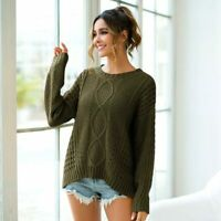 Tops Sweater Knitted Loose Long Sleeve Knit Shirt Pullover Jumper Womens T-Shirt
