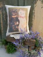 VINTAGE VICTORIAN FOLK ART SHABBY STYLE WEDDING CATS PILLOW