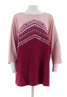 Bob Mackie Embroidered 3/4 Sleeves Pullover Top Blush Burgundy 2X NEW A263339