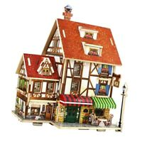 DIY Dollhouse Wooden Miniature Furniture Kit With LED, Mini Dolls House Building
