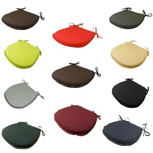 CHEAP SETS 4 / 6 TIE ON D-SHAPED PLAIN KITCHEN DINING CHAIR SEAT PADS CUSHIONS