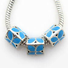 25pcs Antique Silver Blue Enamel Pattern Triangle Alloy Beads European Charms D