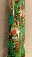 Vtg 100 SQ.FT. Xmas Wrapping Paper Gift Wrap Jumbo Roll Zayre POINSETTIA CANDLES