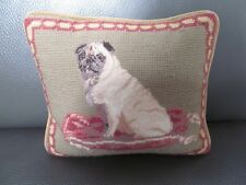 Pug Dog Pillow Beautiful Needlepoint  - A Pug Decor Lover's Delight