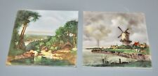 Pair of Vintage Hand painted 6 x 6 Tiles by Designed Tiles of New York