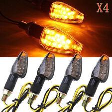 4x Motorcycle Bike Black LED Turn Signal Blinker light Indicator Amber Universal