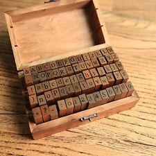 Wooden Rubber Upper 70 Pc  Lower Case Alphabet Letters Number Stamps Set Retro D