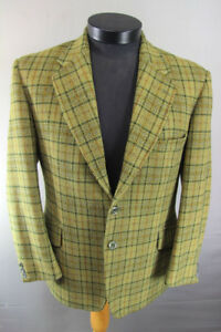 VINTAGE 1970's HODGES PURE WOOL CHECKED GREEN SCOTTISH WOVEN TWEED JACKET 40 IN
