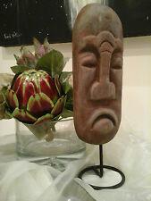 GRUMPY MAN~Chunky Pottery Face/Iron Stand~Interior Design/Shop Display Prop