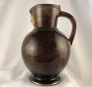 Antique Wedgwood Treacle Glaze Doric NeoClassical Pitcher -Gilt Satyr Head c1800