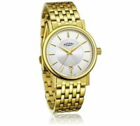 REDUCED Rotary GB03635 Men's Slim Gold Plated Bracelet Watch Ivory Dial RRP £109