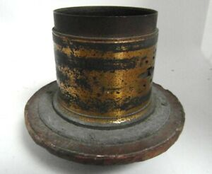 vintage camera photographic lens, large brass bound with flange, looks  c.1860
