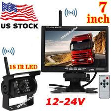 "12V-24V 7"" Wireless  LCD Monitor +Bus Truck 18LEDs IR Night Vision Backup Camera"