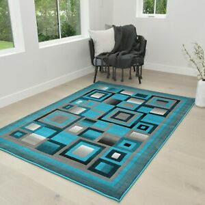 Rugs 8x10 Rug Abstract Modern Contemporary Geometric 5x7 Rug Carpet Turquoise
