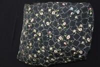"RARE VINTAGE DEADSTOCK 1950'S VERY FINE BLACK FLORAL SILK FABRIC 17 YDS X 39"" W"