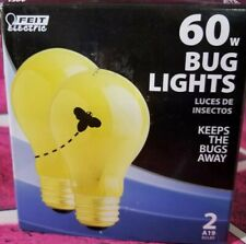 2 BUG LIGHT BULB 60W INCANDESCENT FEIT ELECTRIC A19 PORCH PATIO CAMPING POOL