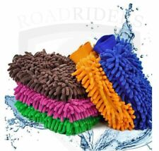 Microfiber Double Sided Car Cleaning Cloth Gloves (BLUE)