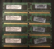 Lot Of 4 Elpida 512MB 1Rx8 PC2-3200R-333 DDR2 Ram
