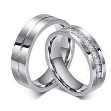 Mens Women Silver Tone Wedding Band Titanium Steel Wedding Band Couple Ring