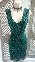 🌹DEBENHAMS 🌹SHEER GREEN LEOPARD PRINT RUCHED WIGGLE COCKTAIL DRESS 8 WEDDING