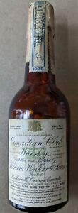 Antique 1934 Canadian Club Whiskey Bottle 1/10th Pint