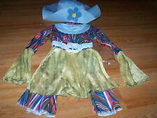 Child One Size 3-6 Hippie Halloween Costume Pants EUC Shirt Top Hat New Blue