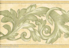 Architectural Acanthus Leaf Ornate Scroll Green Sage Gold Wall paper Border