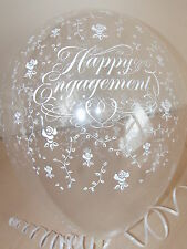 Clear Printed ☆ ENGAGEMENT BALLOONS ☆ Helium Quality ☆ Party Decorations x 10