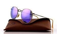 RARE Genuine RAY-BAN Round Metal Purple Mirror Bronze Sunglasses RB 3447 167/1M