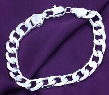 Flat Soft Flat Curb Bracelet 8Mm Promotion 925 Sterling Silver plating Unisex