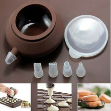 Silicone Macaron Mold Pot Baking Decorating Pen Pastry Cream Cake+4 Nozzle Tool