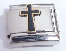 BLACK CROSS Italian Charm Faith Religious 9mm fits Classic Starter Bracelets E22