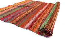 Rugs 4x6 Ft & 3x5 Ft Cotton Hand Woven Multi Orange Square Area Chindi Floor Rug