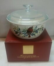 Lenox Winter Greetings Casserole with glass lid in original box