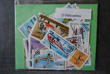 Hélicoptères, 25 timbres thématiques, tous différents