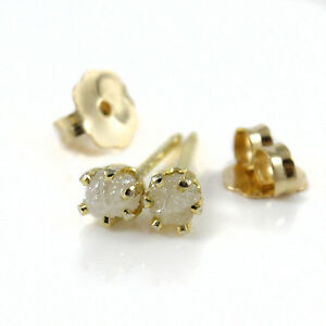 3.0mm White Rough Diamond Ear Studs- 14K Gold Filled Posts- Conflict Free Stones