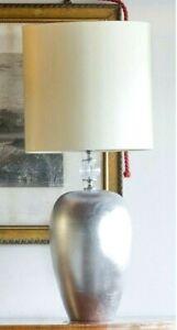 Lampada da tavolo Maiolica italiana Lume decorativo ceramica e foglia di platino