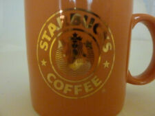 STARBUCKS Ceramic Coffee Mug PEACH GOLD RARE MERMAID LOGO Japan