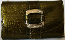 NEW OLIVE GREEN CROC LEATHER WALLET PURSE CLUTCH BAG (A40)
