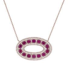 4.17 TCW 14K Rose Gold Natural Red Ruby Diamond Oval Pendant Necklace Rubies