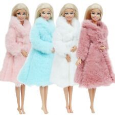 4x Winter Doll Jacket Long Furry Coat Robe Plus Dress Clothes for 11.5 in Doll